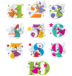 Set cartoon numbers with elves vector