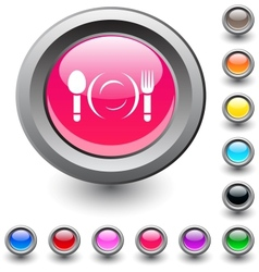 Dinner round button vector