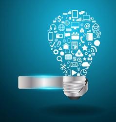 Light bulb idea with social media application icon vector