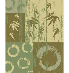Zen circle and bamboo vintage green background vector