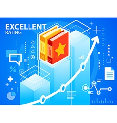 Bright excellent rating and books on blue ba vector