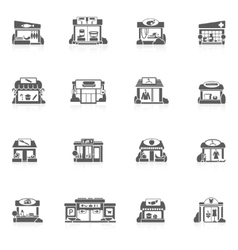 Store buildings set vector
