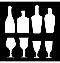 Set white alcohol bottles and glass vector
