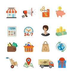 Internet shopping and delivery flat icon set vector