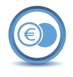 Blue euro coin icon vector