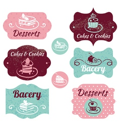 Set of vintage bakery labels vector