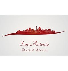 San antonio skyline in red vector