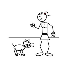 Stick figure cat vector