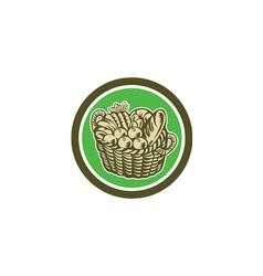 Crop harvest basket circle retro vector