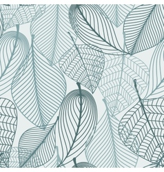 Delicate skeleton leaves seamless pattern vector