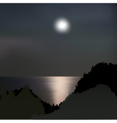 Moon path on the sea at night vector