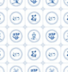 Seamless pattern with dutch ornaments deflt blue vector