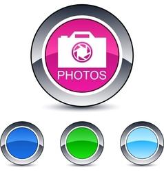 Photos round button vector
