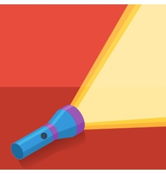 Blue flashlight in flat style on red background vector