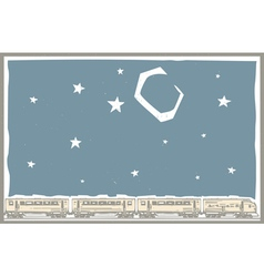 Night sky train vector
