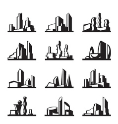 Modern buildings set vector