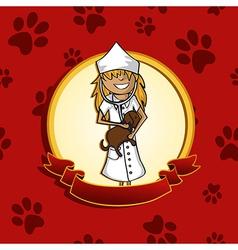 Service vet doctor girl cartoon label icon vector