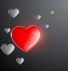 Red glowing heart in the midst of gray hearts vector