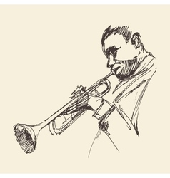 Jazz man playing the trumpet hand drawn sketch vector