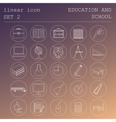 Outline icon set education and school flat linear vector