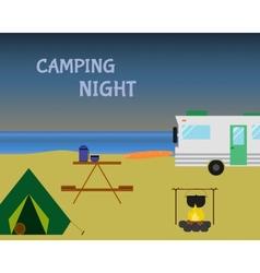 Vintage camping night concept retro caravan vector