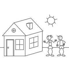 Stick figures house vector