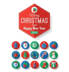 Set of christmas typographical label and round vector