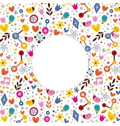 Nature love harmony hearts flowers fun cartoon vector