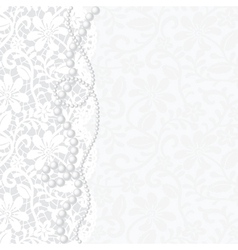 Card with lace and pearls vector