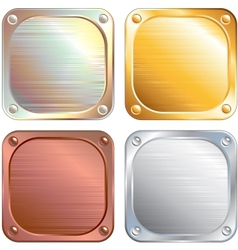 Square metallic plates signs vector