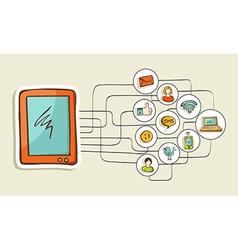 Social media tablet computer concept vector
