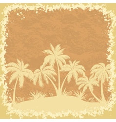 Tropical palms trees and grass silhouettes vector