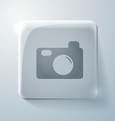 Glass square icon with highlights photo camera vector