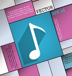 Music note icon symbol flat modern web design with vector