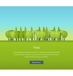 Collection of natural green trees icons set pine vector