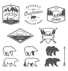 Set of vintage bear icons emblems and labels vector