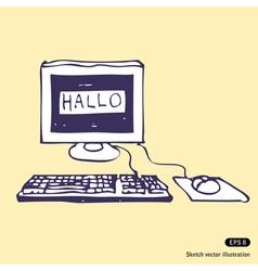 Computer says hallo vector