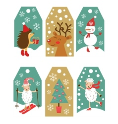 Colorful christmas gift tags vector