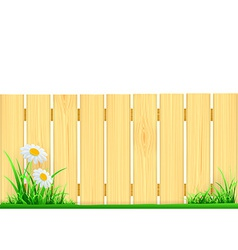 Wooden fence and green grass vector