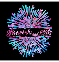 Pattern with stylized fireworks and party vector