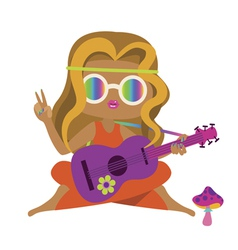 Blonde hippie girl with guitar and mushroom vector