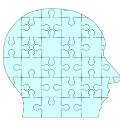 Jigsaw puzzle human head blue background vector