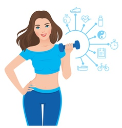 Beautiful slim girl and components of its success vector