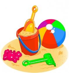 Beach toys pail shovel ball vector