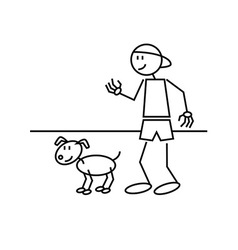 Stick figure dog vector