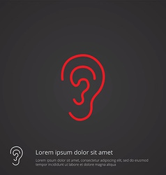 Ear outline symbol red on dark background logo vector