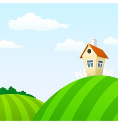 Cartoon nature landscape with house vector