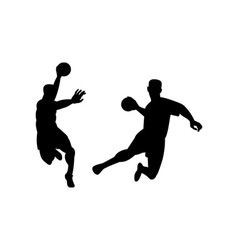 Handball player jumping retro vector