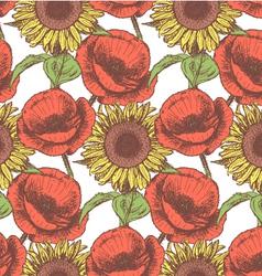 Sunflower poppy vector