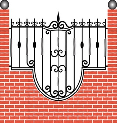 Fence of brick and iron vector